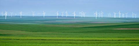 Panorama biali silniki wiatrowi na warstwach rolnicze uprawy z różnorodny zielonym cieni, na chmurzącym niebie w Dobrogea, zdjęcie royalty free