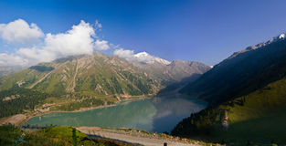 Panorama of  Big Almaty Lake in Almaty, Kazakhstan Stock Photos