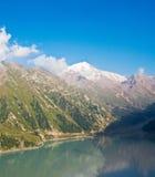 Panorama of  Big Almaty Lake in ZaIli Alatau Stock Image