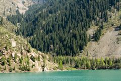 Panorama of  Big Almaty Lake in ZaIli Alatau mountain chain, Kazakhstan Royalty Free Stock Photos