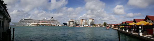 Panorama from a big cruise ship. In the harbour of Oranjesstad Aruba Royalty Free Stock Photos
