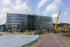 Panorama of big modern building construction Royalty Free Stock Photo
