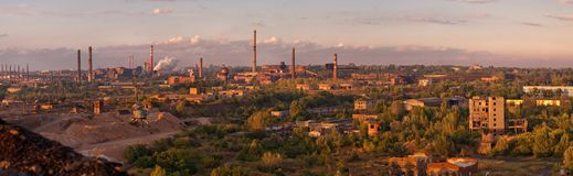 Panorama of the big old factory Royalty Free Stock Photos