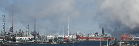 Panorama of bIg red boat in Antwerp Harbor, partia Stock Photo