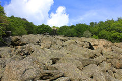 Panorama with big stones in mountain. Some big stones in mountain Royalty Free Stock Photo