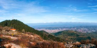 Panorama of Bilbao city from Pagasarri. Mountain stock image
