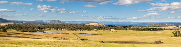 Panorama- bild av ett lantligt Tasmanian landskap Arkivfoton