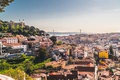 Panorama- bild av staden av Lissabon, Portugal fotografering för bildbyråer