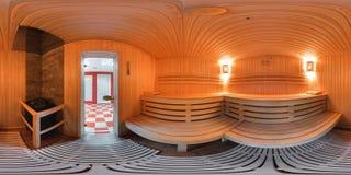 Panorama 360 binnenkant het saunabad Stock Foto's