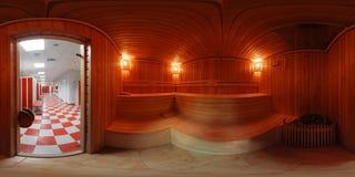 Panorama 360 binnenkant het saunabad Royalty-vrije Stock Afbeeldingen