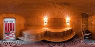 Panorama 360 binnenkant het saunabad Royalty-vrije Stock Foto