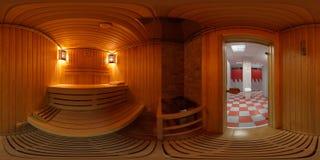 Panorama 360 binnenkant het saunabad Stock Foto