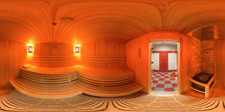 Panorama 360 binnenkant het saunabad Stock Fotografie