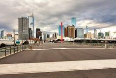 Panorama biznesowa część Melbourne przy zmierzchem Obrazy Royalty Free