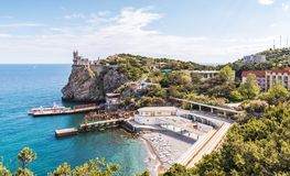Panorama of the Black Sea coast of Crimea. With the castle of Swallow`s Nest, Russia. It is a landmark of Crimea. Scenic panoramic view of Crimea resort stock image