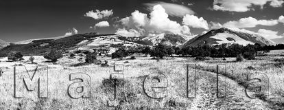 Panorama black and white of mountain group Majella from north vi Royalty Free Stock Photos
