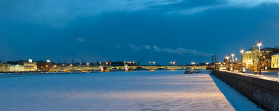 Panorama of Blagoveshchenskogo Bridge in St. Petersburg  the winter evening Royalty Free Stock Photo