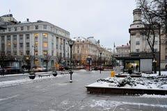 Panorama blanco del tiempo de mañana del invierno de la ciudad de Vilna Fotografía de archivo