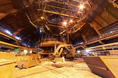 Panorama of blast furnace workshop Royalty Free Stock Image