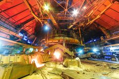 Panorama of blast furnace workshop Royalty Free Stock Images