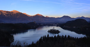 Panorama of Bled Island, Slovenia Royalty Free Stock Photos