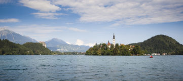 Panorama of Bled Lake in Slovenia Royalty Free Stock Photography