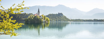 Panorama of Bled Lake in Slovenia Royalty Free Stock Photos