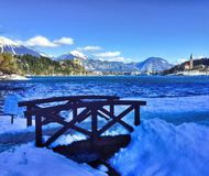 Panorama of Bled Lake, Slovenia Royalty Free Stock Image