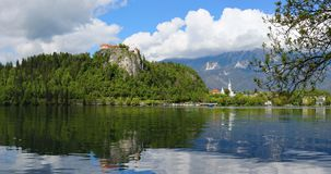 Panorama of Bled lake in Slovenia Royalty Free Stock Photo