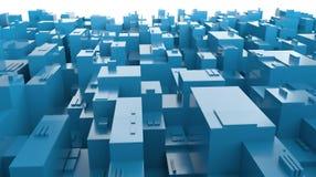 panorama blu della città 3D di futuro astratto Fotografie Stock Libere da Diritti