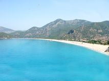 Panorama of blue lagoon and beach oludeniz turkey Stock Photography