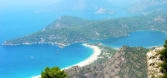 Panorama of blue lagoon and beach oludeniz turkey Stock Image