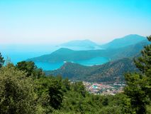 Panorama of blue lagoon and beach oludeniz turkey Stock Image