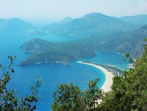 Panorama of blue lagoon and beach oludeniz turkey Stock Photography