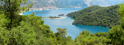 Panorama of blue lagoon and beach oludeniz turkey Royalty Free Stock Photography