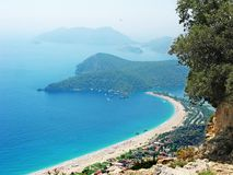 Panorama of blue lagoon and beach oludeniz turkey Stock Images