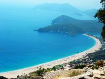 Panorama of blue lagoon and beach oludeniz turkey Royalty Free Stock Image