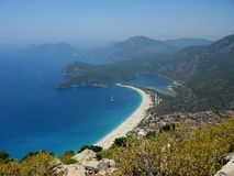Panorama of blue lagoon and beach oludeniz turkey Royalty Free Stock Images