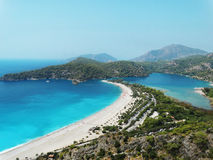 Panorama of blue lagoon and beach oludeniz turkey Royalty Free Stock Photos