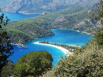 Panorama of blue lagoon and beach oludeniz turkey Royalty Free Stock Images