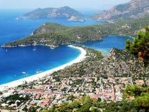 Panorama of blue lagoon and beach oludeniz turkey Royalty Free Stock Photography