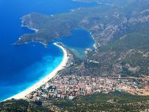 Panorama of blue lagoon and beach oludeniz turkey Royalty Free Stock Photo