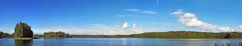Panorama of blue lake Royalty Free Stock Photo