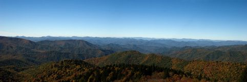 Panorama of Blue Ridge Mountai. Ns in the Autumn Stock Photos