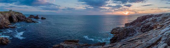 Panorama of the blue sea in Brittany. Panorama of the sunset over the blue sea in Quiberon Royalty Free Stock Photography
