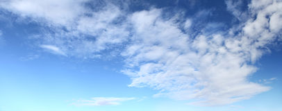 Panorama of blue sky with clouds Stock Photos