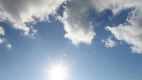 Panorama of blue sky with sun and clouds stock footage