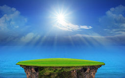 Panorama of blue sky and sun shining Royalty Free Stock Images