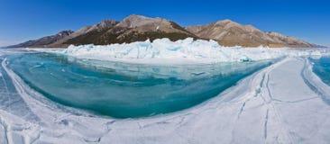 Panorama  blue water of Lake Baikal hummocks Stock Image