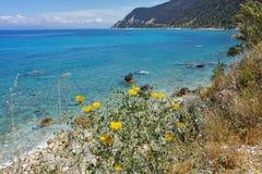 Panorama of Blue Waters of the Agios Nikitas Beach, Lefkada, Ionian Islands Royalty Free Stock Photography